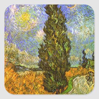 Van Gogh: Road with Cypress and Star Square Sticker