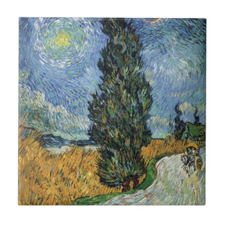Van Gogh Road With Cypresses Tile