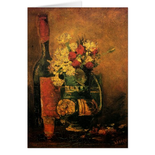 Van Gogh Romantic Fine Art with Roses and Wine Card