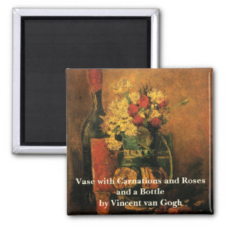 Van Gogh Romantic Fine Art with Roses and Wine Magnet