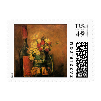 Van Gogh Romantic Still Life with Roses and Wine Postage Stamps