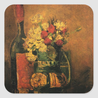 Van Gogh Romantic Still Life with Roses and Wine Square Sticker