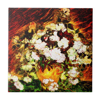 Van Gogh - rosas Azulejo Cuadrado Pequeño