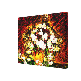 Van Gogh - rosas Impresión En Lienzo Estirada