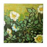 Van Gogh - rosas salvajes Azulejo Cuadrado Pequeño