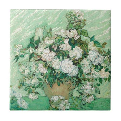 Van Gogh- Roses Azulejo Cuadrado Pequeño