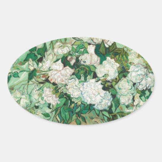 Van Gogh- Roses Oval Sticker
