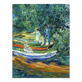 Van Gogh Rowing Boats on the Banks of the Oise 4.25x5.5 Paper Invitation Card