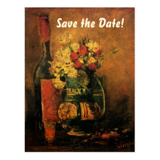 Van Gogh Save the Date with Flowers and Wine! Postcard