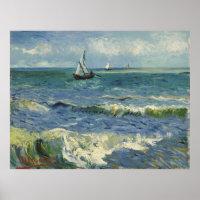 Van Gogh Seascape at Saintes Maries de la Mer Poster
