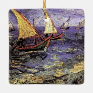 Van Gogh Seascape at Saintes Maries, Fine Art Ceramic Ornament
