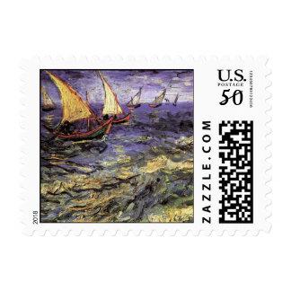 Van Gogh Seascape at Saintes Maries, Fine Art Postage