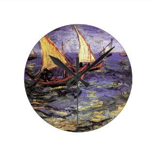 Van Gogh Seascape at Saintes Maries, Fine Art Round Clock