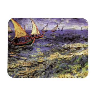 Van Gogh Seascape at Saintes Maries, Vintage Art Rectangular Magnets