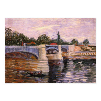 Van Gogh, Seine Pont del Grande Jette, Vintage Art 5x7 Paper Invitation Card