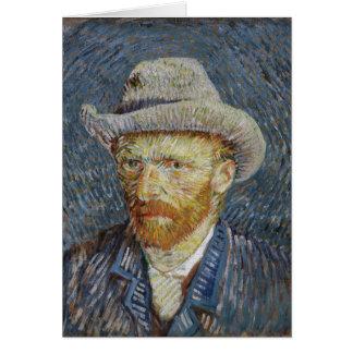 Van Gogh Self Portrait Grey Felt Hat Painting Art Card