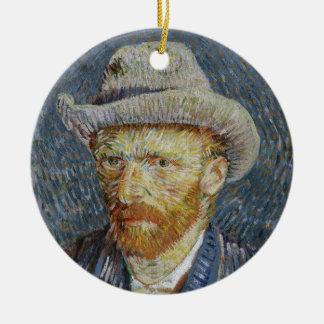 Van Gogh Self Portrait Grey Felt Hat Painting Art Ceramic Ornament