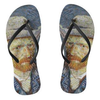 Van Gogh Self Portrait Grey Felt Hat Painting Art Flip Flops
