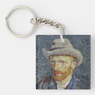 Van Gogh Self Portrait Grey Felt Hat Painting Art Keychain