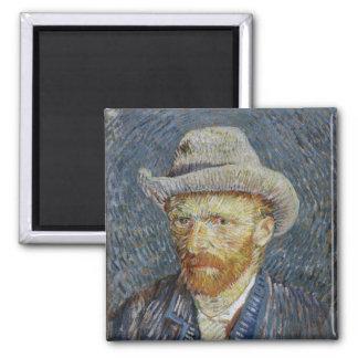Van Gogh Self Portrait Grey Felt Hat Painting Art Magnet
