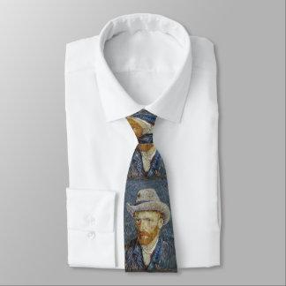 Van Gogh Self Portrait Grey Felt Hat Painting Art Neck Tie