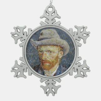 Van Gogh Self Portrait Grey Felt Hat Painting Art Snowflake Pewter Christmas Ornament
