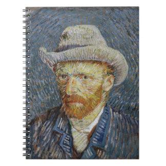 Van Gogh Self Portrait Grey Felt Hat Painting Art Spiral Notebook