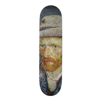 Van Gogh Self Portrait Grey Felt Hat Vintage Art Skateboard