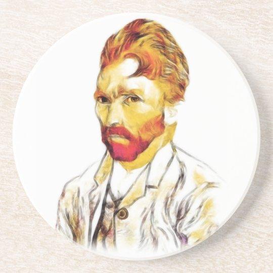 Van Gogh Self Portrait - Hair Do Sandstone Coaster