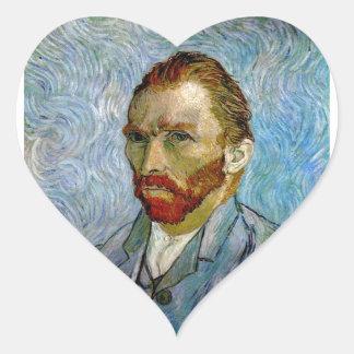 Van Gogh Self Portrait Heart Sticker