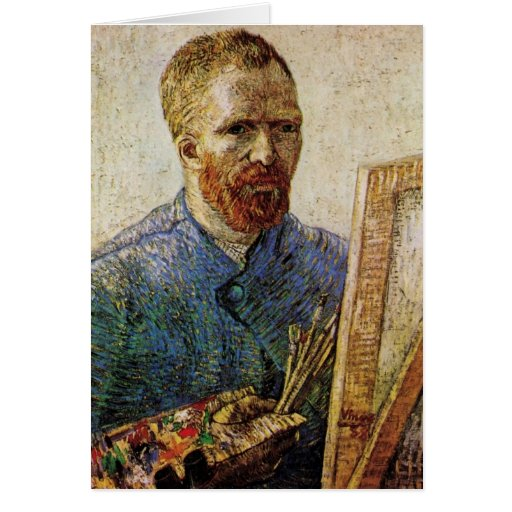 Van Gogh; Self Portrait in Front of the Easel Cards