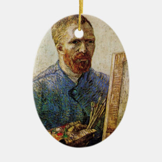 Van Gogh; Self Portrait in Front of the Easel Ceramic Ornament