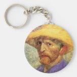 Van Gogh Self-Portrait Straw Hat Fine Art Basic Round Button Keychain
