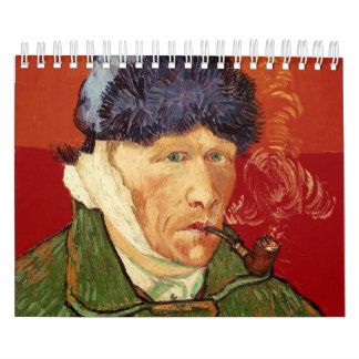 Van Gogh Self-portrait with Bandaged Ear and Pipe Calendar