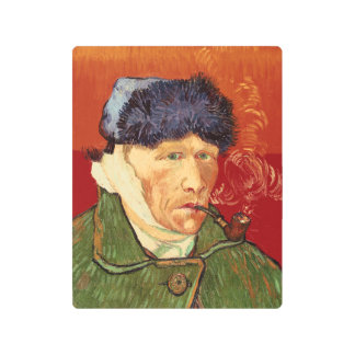Van Gogh Self-portrait with Bandaged Ear and Pipe Metal Print