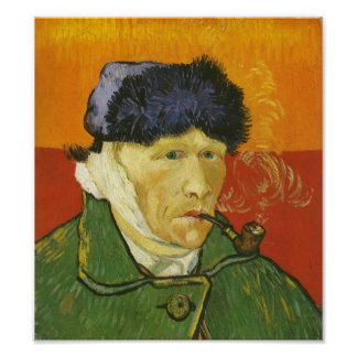Van Gogh, Self-portrait with bandaged ear and pipe Poster
