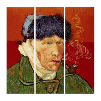 Van Gogh Self-portrait with Bandaged Ear and Pipe Triptych