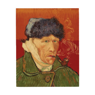 Van Gogh Self-portrait with Bandaged Ear and Pipe Wood Wall Art