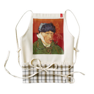 Van Gogh Self-portrait with Bandaged Ear and Pipe Zazzle HEART Apron
