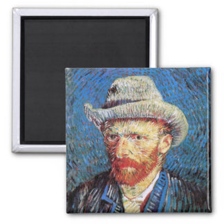 Van Gogh - Self Portrait With Grey Felt Hat 2 Inch Square Magnet
