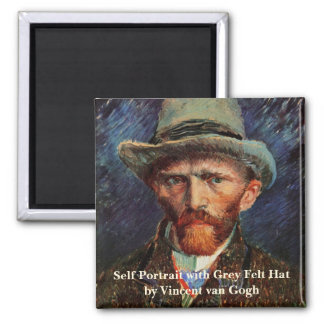 Van Gogh; Self Portrait with Grey Felt Hat 2 Inch Square Magnet