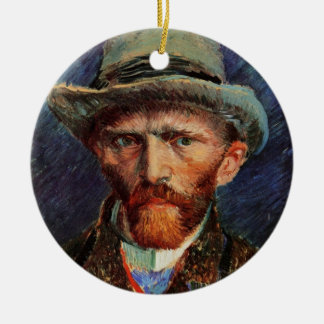 Van Gogh; Self Portrait with Grey Felt Hat Ceramic Ornament