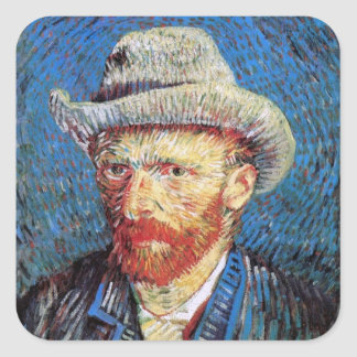 Van Gogh - Self Portrait With Grey Felt Hat Square Sticker