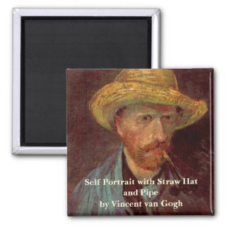 Van Gogh; Self Portrait with Straw Hat and Pipe Fridge Magnet