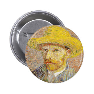 Van Gogh Self Portrait with Straw Hat Button