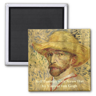 Van Gogh; Self Portrait with Straw Hat Refrigerator Magnet