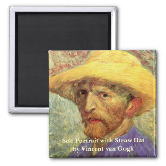 Van Gogh; Self Portrait with Straw Hat Fridge Magnets