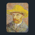 """Van Gogh Self Portrait with Straw Hat Magnet<br><div class=""""desc"""">Van Gogh Self Portrait with Straw Hat. Oil painting on canvas from 1887. Van Gogh was a prolific painter of self-portraits throughout his career. Self-portrait with Straw Hat is one of his most famous depictions of himself as an artist. The work features Van Gogh in a blue jacket and white...</div>"""
