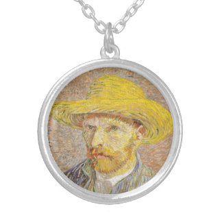Van Gogh Self Portrait with Straw Hat Necklace