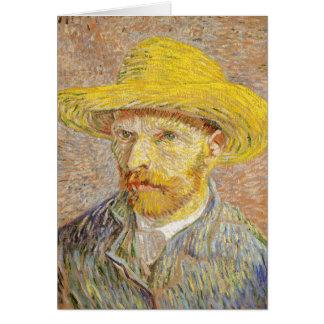 Van Gogh Self Portrait with Straw Hat Note Card